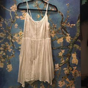 Strapless Asymmetrical Cut Floral Knit Dress